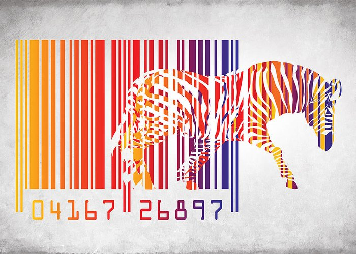 Zebra Greeting Card featuring the painting Zebra Barcode by Mark Ashkenazi