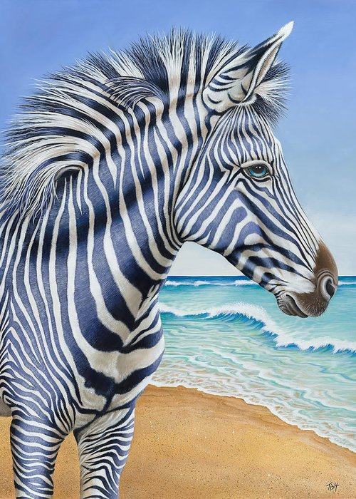 Zebra Greeting Card featuring the painting Zebra By The Sea by Tish Wynne