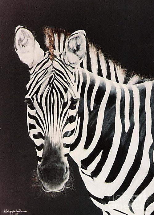 black And White Greeting Card featuring the painting Zebra facing left by DiDi Higginbotham