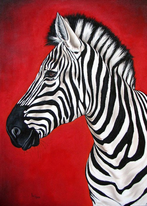 Zebra Greeting Card featuring the painting Zebra by Ilse Kleyn