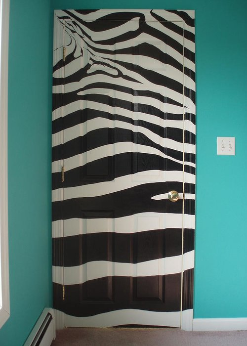 Acrylic Paint On Wood Greeting Card featuring the painting Zebra Stripe Mural - Door Number 2 by Sean Connolly