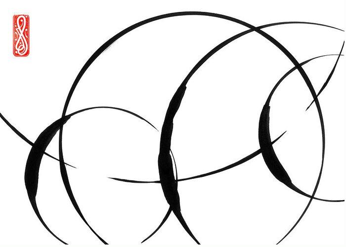 Zen Greeting Card featuring the painting Zen Circles 3 by Hakon Soreide