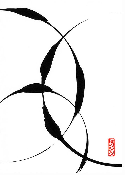 Zen Greeting Card featuring the painting Zen Circles 5 by Hakon Soreide