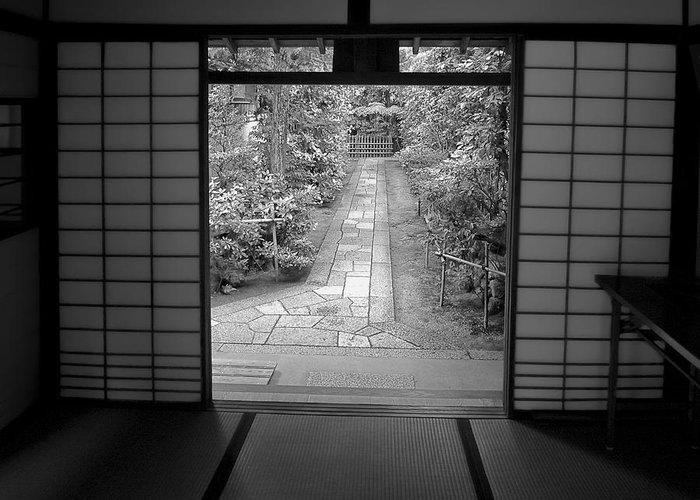 Japan Greeting Card featuring the photograph Zen Garden Walkway by Daniel Hagerman