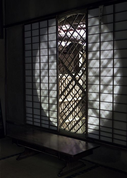 Window Greeting Card featuring the photograph Zen Temple Window - Kyoto by Daniel Hagerman