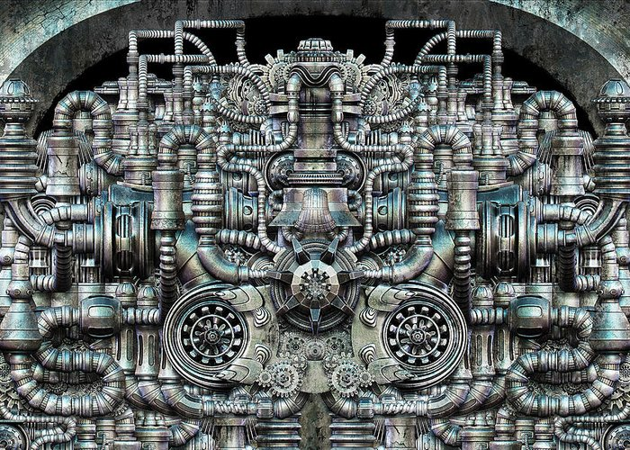 Engine Greeting Card featuring the digital art Zengine V1 by Pixel Chemist