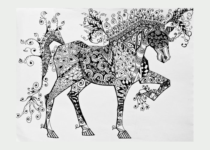 Horse Art Greeting Card featuring the drawing Zentangle Circus Horse by Jani Freimann