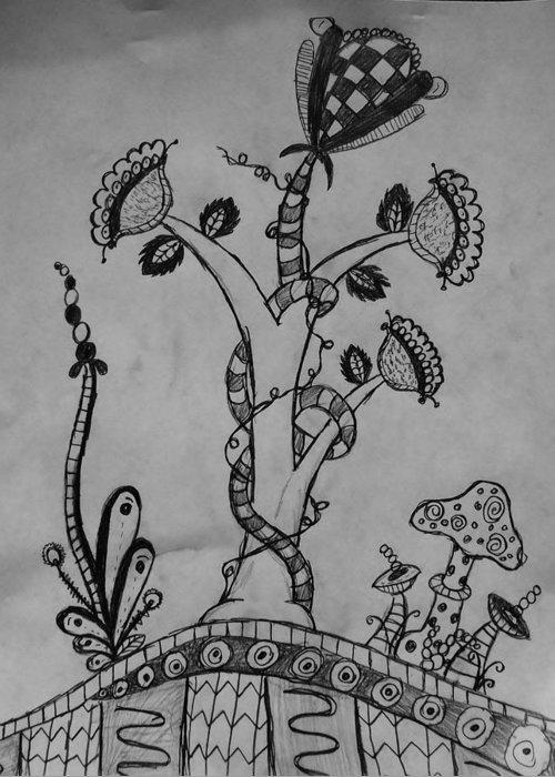 Zentangle Plants Greeting Card For Sale By Olivia Buddington
