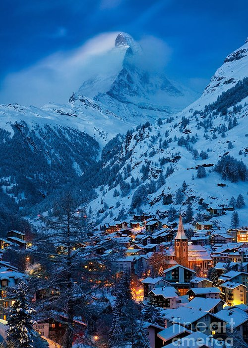 Dusk Greeting Card featuring the photograph Zermatt - Winter's Night by Brian Jannsen