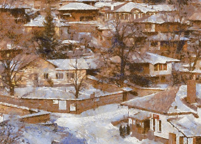 Winter Greeting Card featuring the painting Zheravna by Georgi Dimitrov