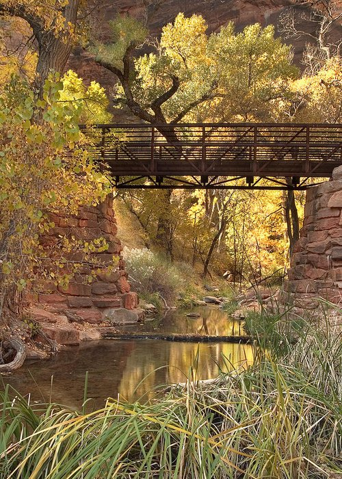 3scape Greeting Card featuring the photograph Zion Bridge by Adam Romanowicz