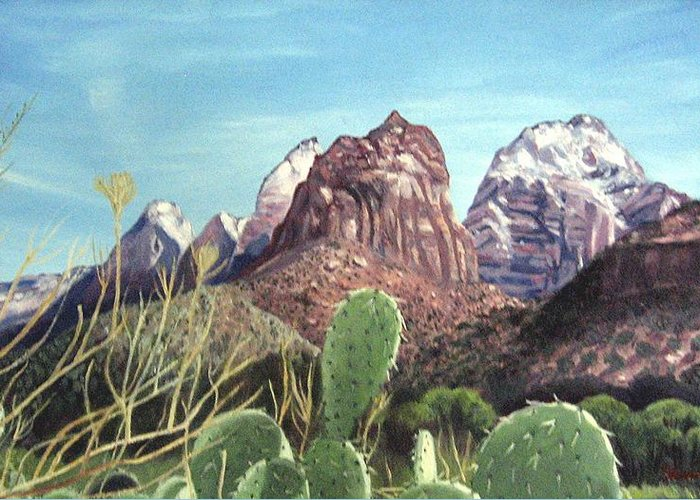 Zion Greeting Card featuring the painting Zion National Park by Sharon Casavant