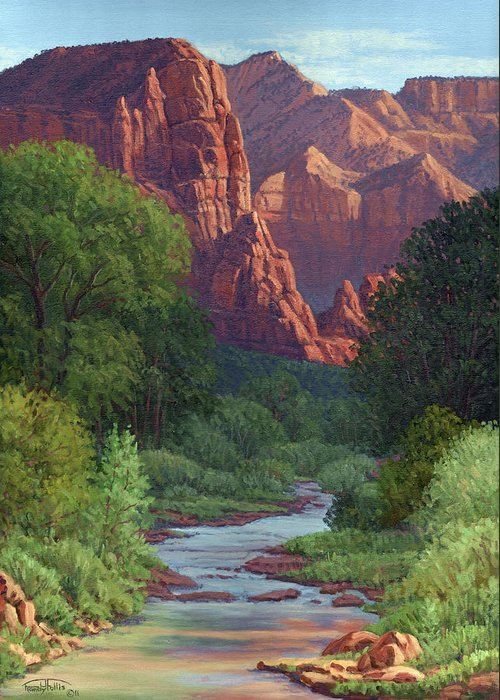 Landscape Greeting Card featuring the painting Zion by Randy Follis