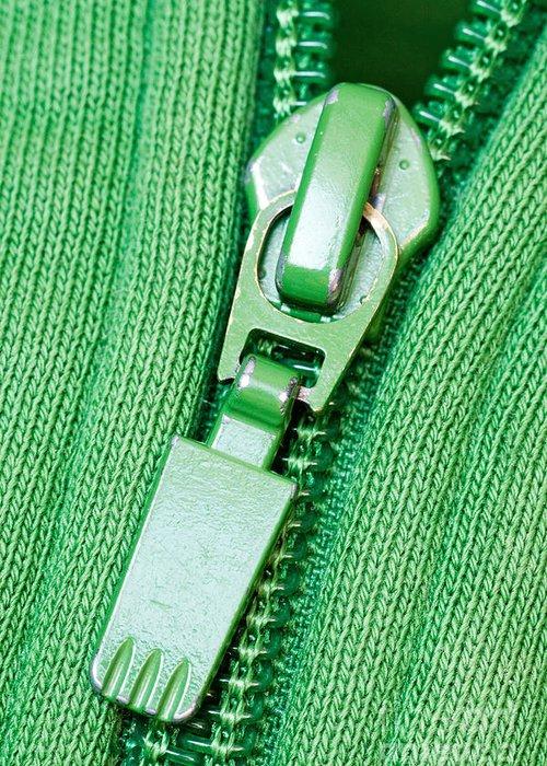 Zipper Greeting Card featuring the photograph Zipper Of A Green Sweater by G J