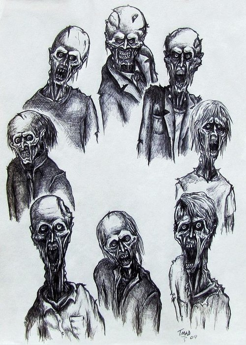 Michael Greeting Card featuring the drawing Zombies by Michael TMAD Finney