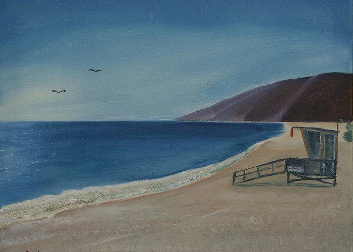 Seabird Greeting Card featuring the painting Zuma Lifeguard Tower by Ian Donley