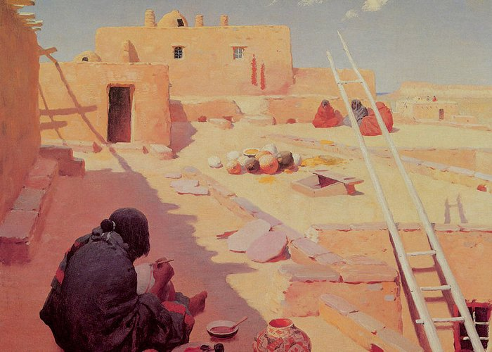 William Robinson Leigh Greeting Card featuring the painting Zuni Pottery Maker by William Robinson Leigh