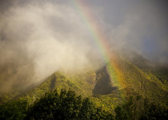 No People Greeting Card featuring the photograph  A Rainbow Shines Over The Rugged by Taylor S. Kennedy