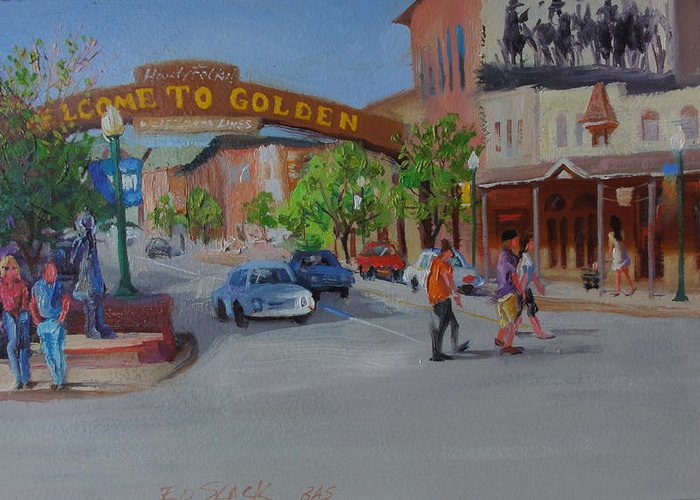 People Street Scene Greeting Card featuring the painting 2 O'clock High by Ed Slack
