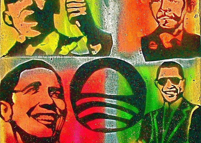 Barack Obama Greeting Card featuring the painting 4 Barack by Tony B Conscious