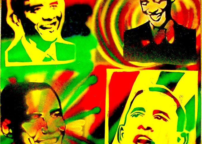 Barack Obama Greeting Card featuring the painting 4 Rasta Obama by Tony B Conscious