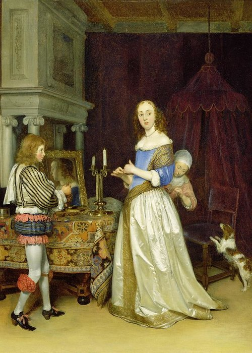 Lady Greeting Card featuring the painting A Lady At Her Toilet by Gerard ter Borch