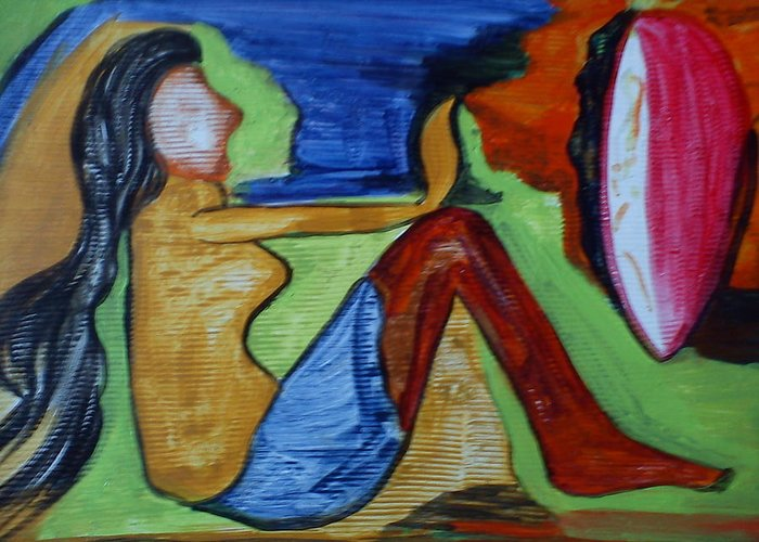 \lady With Mirror\ Greeting Card featuring the painting A Lady With Mirror by Anumehaa Jaiin