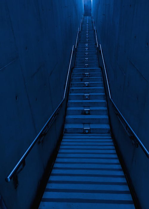 Using Senses Greeting Card featuring the photograph A Long Narrow Flight Of Stairs by Lawren Lu