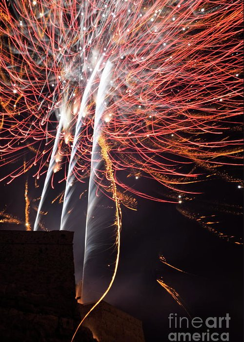 Vertical Greeting Card featuring the photograph Bastille Day Fireworks by Sami Sarkis