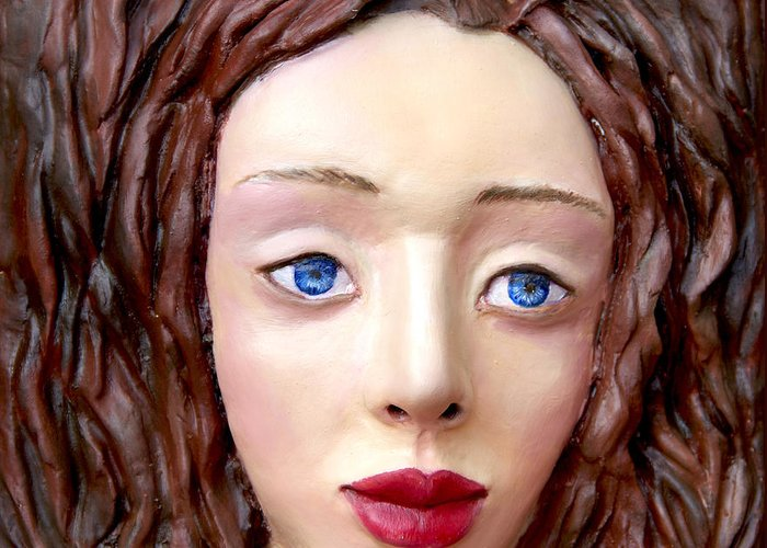 Custom Greeting Card featuring the sculpture Blue-eyed Girl by Yelena Rubin