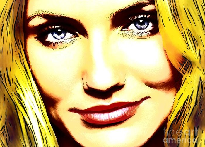 Cameron Diaz Greeting Card featuring the digital art Cameron Diaz Pop Portrait by Andre Drauflos
