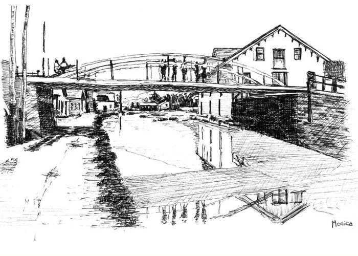 River Greeting Card featuring the drawing Canal Ellenville by Monica Cohen