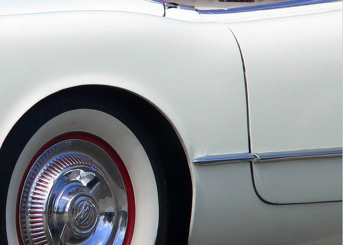 Chevy Corvette Greeting Card featuring the photograph Classic White Corvette by Jeff Lowe