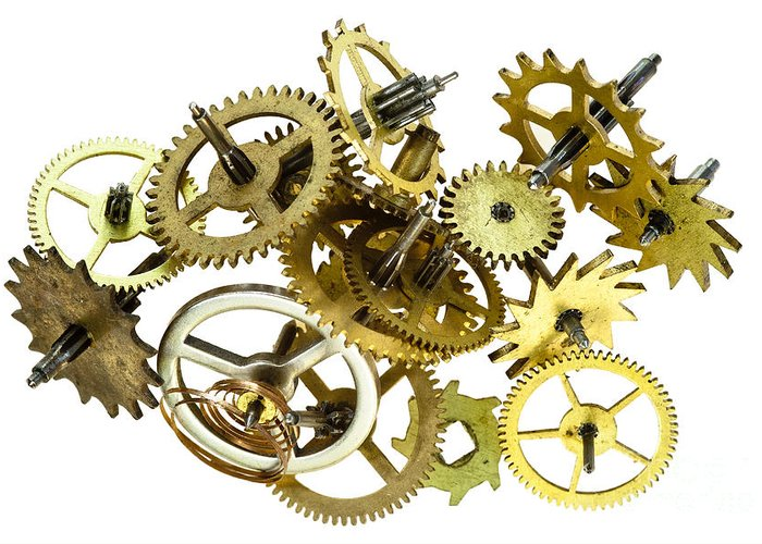 Cogwheel Greeting Card featuring the photograph Clockwork Mechanism by Michal Boubin
