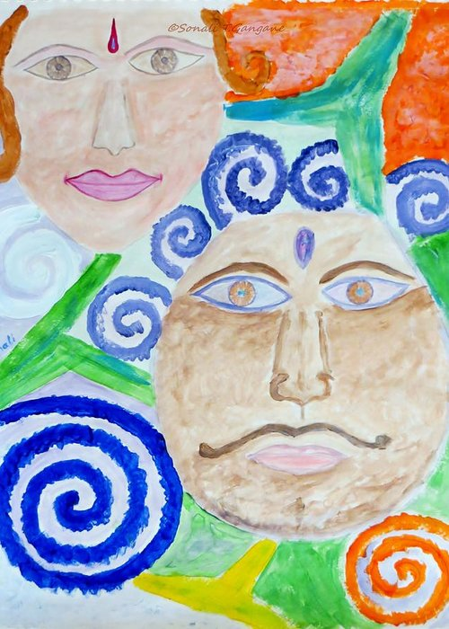 Expresion Greeting Card featuring the painting Faces by Sonali Gangane
