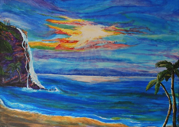 Palm Trees Greeting Card featuring the painting Finding Peace Again by Tifanee Petaja