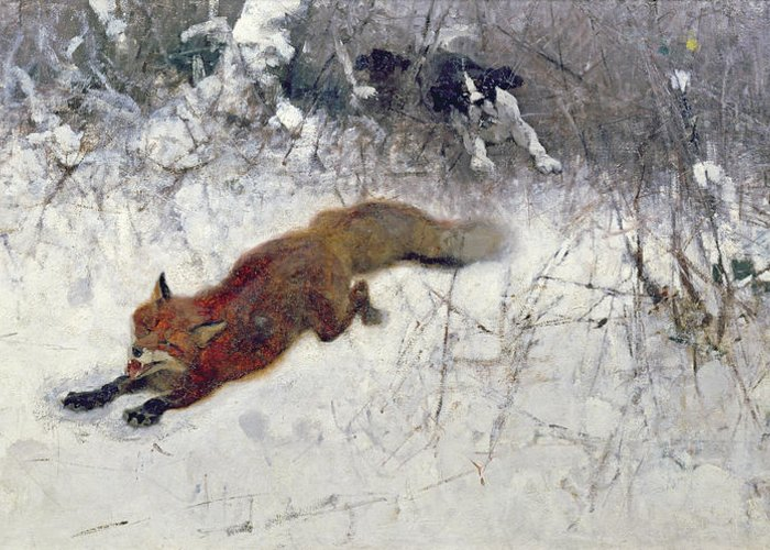 Hunted Greeting Card featuring the painting Fox Being Chased Through The Snow by Bruno Andreas Liljefors
