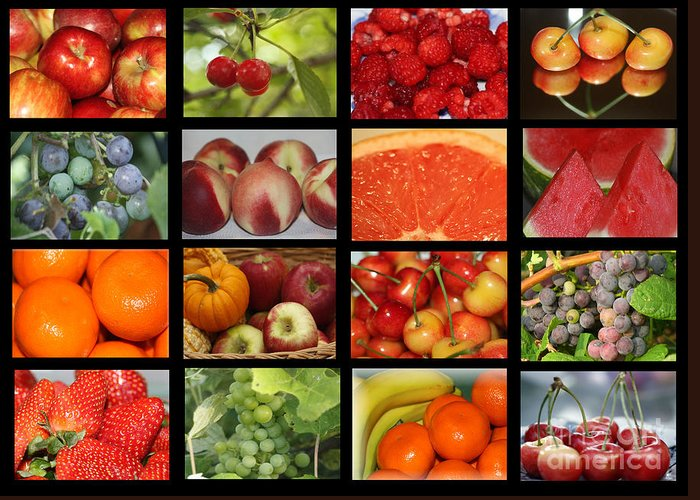 Fruits Greeting Card featuring the photograph Fruits Collage by Yumi Johnson