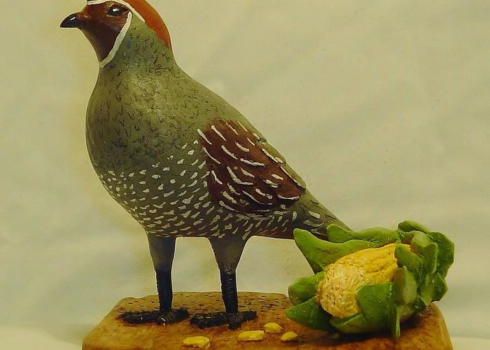 Wood Carving Greeting Card featuring the sculpture Gambel's Quail by Russell Ellingsworth