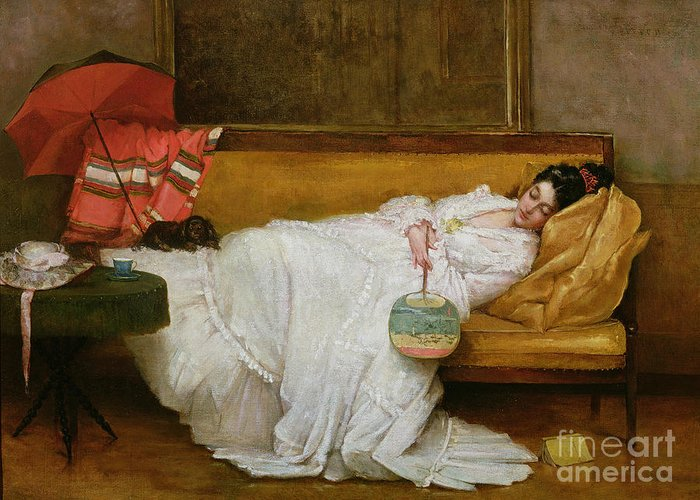 Girl Greeting Card featuring the painting Girl In A White Dress Resting On A Sofa by Alfred Emile Stevens