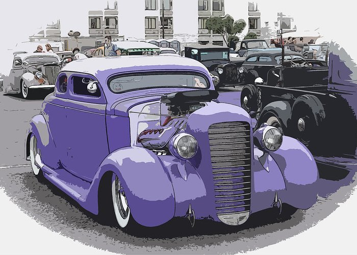 Chopped Greeting Card featuring the photograph Hot Rod Purple by Steve McKinzie
