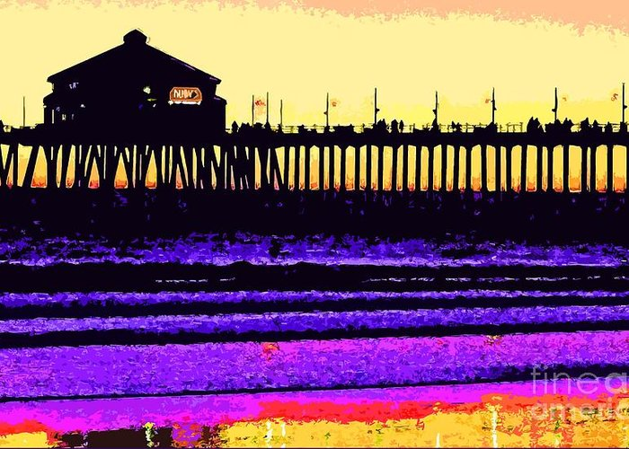 Hb Pier Greeting Card featuring the photograph Huntington Beach Pier  by Everette McMahan jr