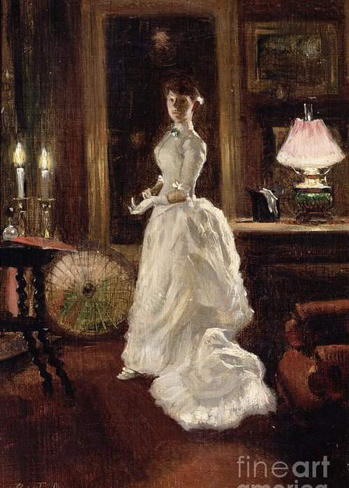 Interior Greeting Card featuring the painting Interior Scene With A Lady In A White Evening Dress by Paul Fischer