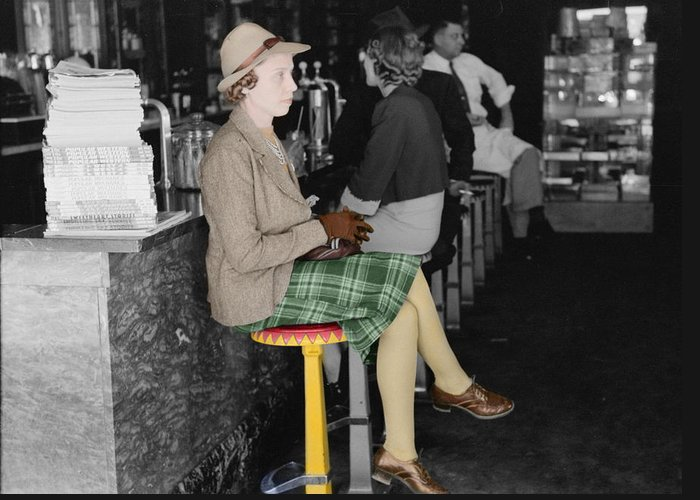 Soda Fountain Greeting Card featuring the photograph Lady In A Diner by Andrew Fare