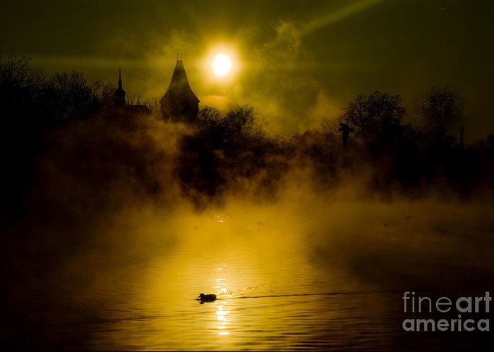 Lake Greeting Card featuring the photograph Misty Lake by Bela Torok
