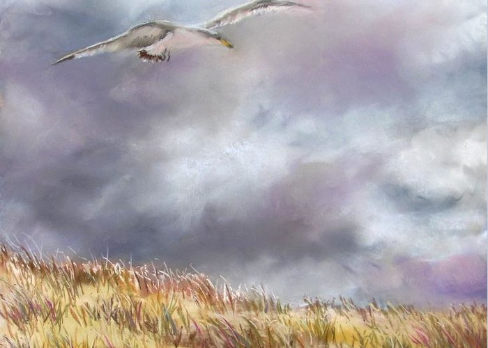 Seagull Greeting Card featuring the painting Seagull Flying Over Dunes by Jack Skinner