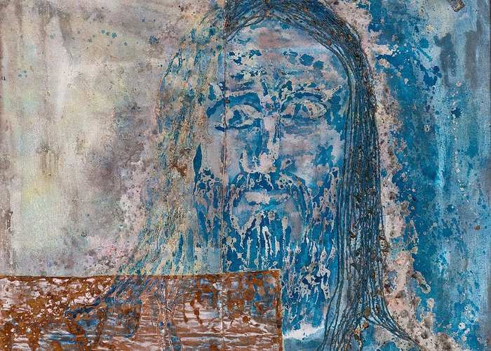 Art Greeting Card featuring the painting See Me See My Father And The Spirit by Thomas Lentz