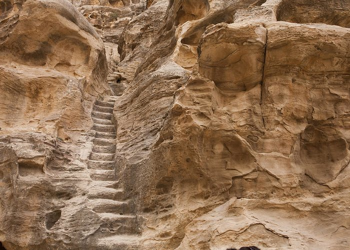 Little Petra Greeting Card featuring the photograph Stairs Lead Up A Rock Face In Little by Taylor S. Kennedy