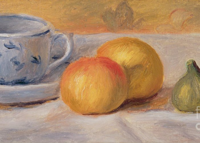 Fruit; Crockery; Patterned; China; Saucer; Tablecloth; Rustic; Figs; Oranges Greeting Card featuring the painting Still Life With Blue Cup Nature Morte A La Tasse Bleue by Pierre Auguste Renoir