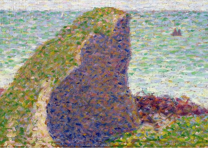 Study Greeting Card featuring the painting Study For Le Bec Du Hoc by Georges Pierre Seurat